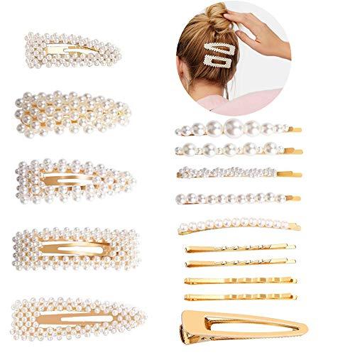Haarspangen Perlen 15 Stück Haarschmuck für Hochzeit Party Metal Haarklammern Haarnadeln Hair Clips für Damen Mädchen DIY Haarstyling