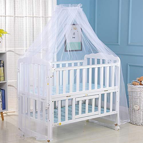 Mosquitera de la cama de bebé, cubierta de la red del toldo de la cama, insecto de la mosca de la cortina de la red de mosquito de la malla que para la cama de la cuna (Blanco)