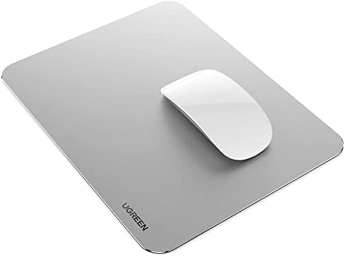 discount UGREEN Aluminum Mouse Pad Hard Metal Mouse Mat Double Side Ultra lowest outlet online sale Thin Waterproof for Gaming, Home and Office, Sliver sale