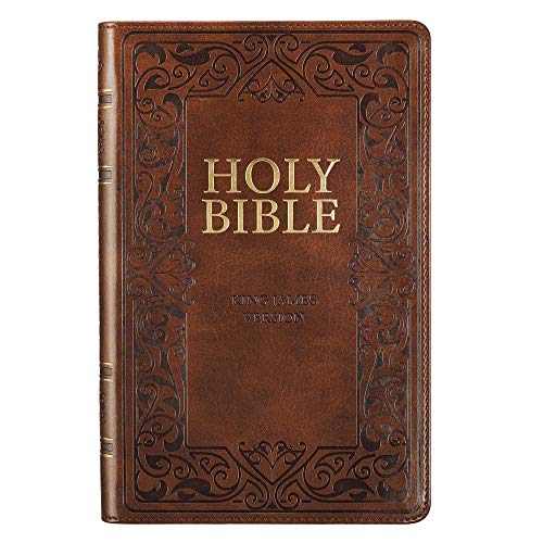 KJV Holy Bible, Standard Bible - Brown Faux Leather Bible w/Ribbon Marker and Thumb Index, Red Letter Edition, King James Version