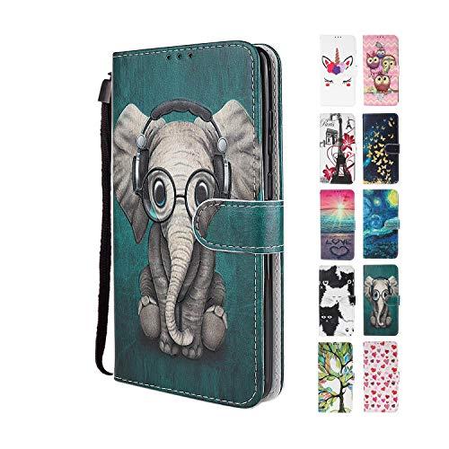 UCool für Xiaomi Redmi Note 9 Pro Hülle PU Leder Flip Klappbar Lederhülle Schutzhülle 3D Grün + Elefant Bunt Muster Wallet Cover Flip Hülle Handyhülle mit Kartenfach Tasche Etui