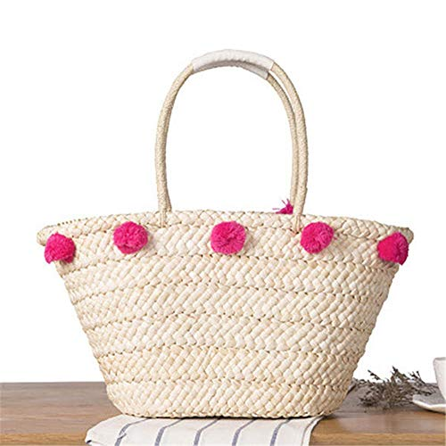 NEHARO Estate Borsa da Spiaggia Casual Lady Borsa da Spiaggia Spiaggia della Paglia Borsa Peluche Palla Decorazione Sveglia Tessuto Mano Tote Bag per Donne (Color : Beige, Size : One Size)