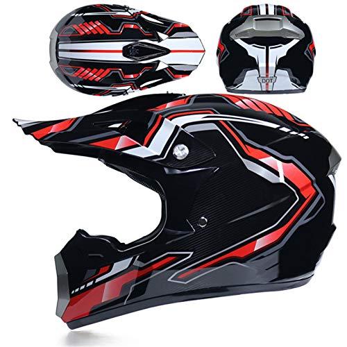 KAAM Motocross-Helm, Herren Und Damen Crosshelm Fullface Schutz, Mit Brille Maske...