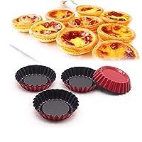 6PCS /パックノンスティック炭素鋼ミニタルトパン、カップケーキケーキ型マフィンベーキングカップブラック/レッド耐熱皿、3インチ径のケーキ型 Jinlyp