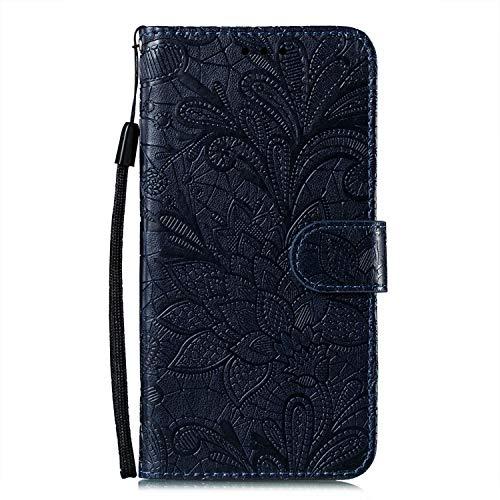 JZ Mi CC9 Capa carteira protetora com flores de renda para Xiaomi Mi CC9 com alça de pulso e capa flip magnética - Preta