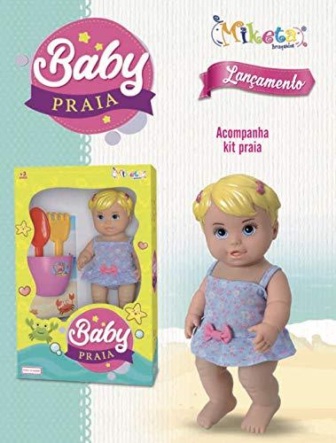 Boneca Baby Praia Com Balde, Pazinha e rastelo Loira 30cm