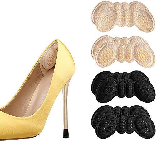 Hanwu Anti-Slip Granules Heel Grips Liner Insert for Shoes Too Big,Shoe Filler Improved Shoe Fit and Comfort,Prevent Blisters 4 Pairs