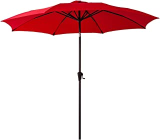 FLAME&SHADE 10' Patio Market Umbrella for Outdoor Table Balcony Outside Terrace Deck Yard or Pool with Tilt, Red