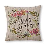 Happy Spring Throw Pillow Cover, 18 x 18 Inch Cushion Case for Sofa Couch