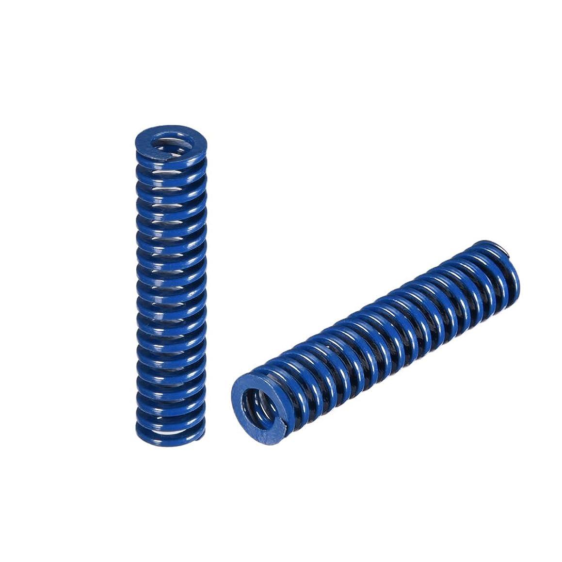 uxcell 8mm OD 35mm Long Spiral Stamping Light Load Compression Mould Die Spring Blue 2Pcs