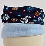 Fleece Loop Schal | Piraten Schiffe hellblau dunkelblau | Junge Boy Kind 3-4 - 5-6- 7-8 Jahre | Halstuch Schal warm gefüttert