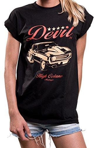 Kurzarm Shirt Damen mit Aufdruck - US Camaro Muslce Car - Rockabilly Print Rundhals Top große Größe M