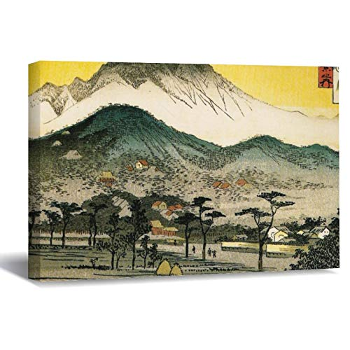 Hiroshige Evening View of A Temple In The Hills. Canvas Picture Painting Artwork Wall Art Poto Framed Canvas Prints for Bedroom Living Room Home Decoration, Ready to Hanging 8'x12'