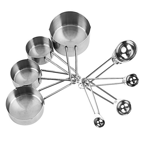 8pcs Measuring Cups and Spoons Set, Stackable Stainless Steel Teaspoons for Dry or Liquid Cooking Kitchen Gadget