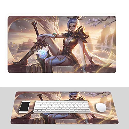 Riven LOL League of Legends Mouse Pad, Professional Large Gaming Mouse Pad for LOL, Keyboard Pad,Computer Desk Mat with Non-Slip Rubber Base Design Multiple Sizes