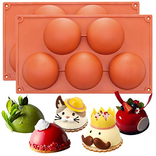 FUNSHOWCASE Extra Large 5 Cavities Semi-sphere Dome Mousse Cake Silicone Mold 2 in Set