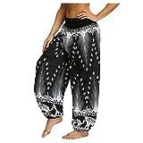 Pantalon Fluide Femme Imprimé Florale Ryures Pants Éléphant Yoga Doux Casual Losse Pantalon Sarouel Aladin Jogging Hiver(Gris,Small)