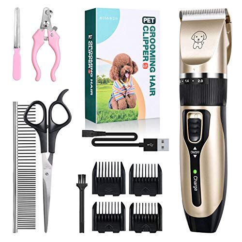Jomverl Dog Shaver Clippers Low Noise Rechargeable Cordless Electric Quiet Hair Clipper Grooming Kit Set, Professional Dog Hair Trimmer Long Short Hair Shaver for Small Middle Large Dogs Cats Pets