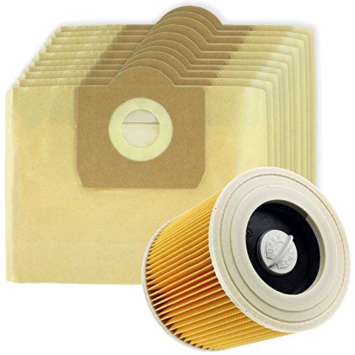 Grand sac à haute filtration Spares2go + cartouche de filtre pour Karcher WD3 WD3P aspirateur à nettoyage sec ou humide (lot de 10 + filtre)