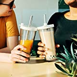 Reusable Boba Cup with Resealable Lid Plug - 17 Oz Double Wall Insulated | Smoothie Tumbler | Wide Stainless Steel Straw For Bubble Tea, Boba Pearls - White