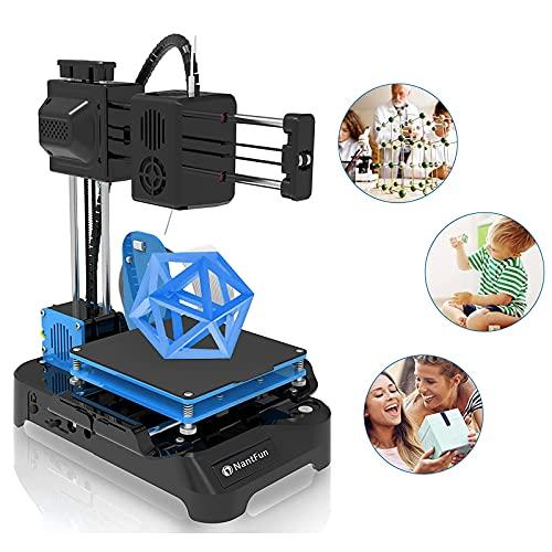 NantFun Impresora 3D, Mini Impresora 3D Portátil Pequeña para Niños y Principiantes con Filamento PLA, Calentamiento Rápido, Tamaño De Impresión 100X100X100mm, negro y azul
