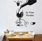 Stickers Muraux Art Bricolage Maison Décorer Noir Bouteille En Verre De Vin Fleur Raisin Salle De Bain Cuisine Réfrigérateur Décoration 43X52 Cm