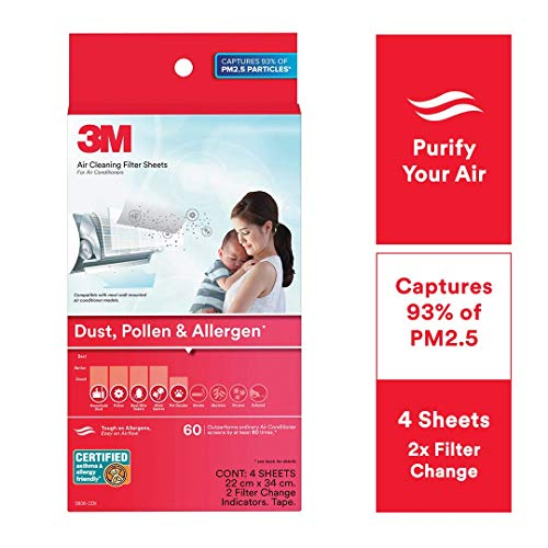 3M AC Filters for converting Split AC into air Purifier [Dust, Pollen & Allergens, 4 Sheets, 2 Change Indicators]