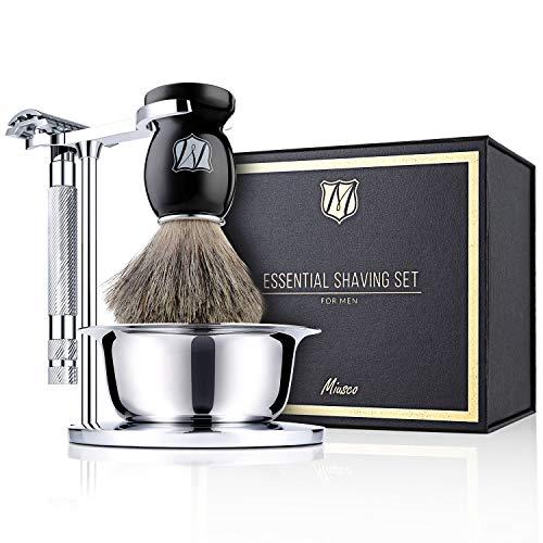 Miusco Men's Wet Shaving Kit, 4 Piece, Badger Hair Shaving Brush, Hand Polished Stainless Steel Shaving Stand, Shaving Bowl & Safety Razor