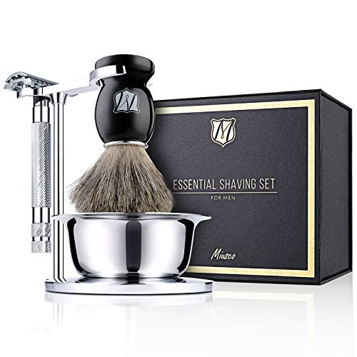 Miusco Men's Wet Shaving Kit, 4 Piece, Badger Hair Shaving Brush, Hand Polished Stainless Steel Shaving Stand, Shaving Bowl & Safety Razor