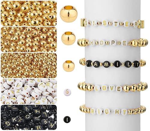 1600 Pzs Mini Abalorios Cristal, Cuentas del Alfabeto Multicolor Mezclado Redondo Acrílico de A-Z,...
