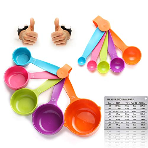 KAISHANE Measuring Cups and Spoons with Plastic Handle Nesting Random Color Set With magnetic card of 10 Measurement Tools for Liquids Dry Ingredients and Animals Feeding