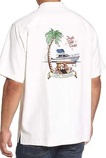 Tommy Bahama Embroidered Christmas Jingle Bell Dock Silk Camp Shirt