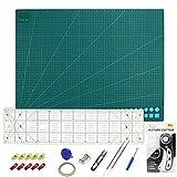 Alfombrilla de Corte A2 + Cúter Rotativo + Cuchilla de Repuesto + Patchwork de Regla + Abrazadera de Plástico + Alfileres,Juego de Patchwork