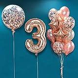 MMTX Decoration Anniversaire Fille Ballon 3 an,Or Rose Ballon 3,Ballons Anniversaire Deco 3 an Or Rose,Ballon 3 Ans Fille,Rose Golden Ballons Anniversaire,Anniversaire Fille 3 an Parti Décoration