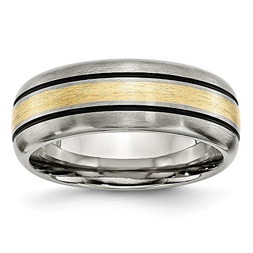 ICE CARATS Titanium Grooved 14k Yellow Inlay 8mm Brushed Wedding Ring Band Size 10.50 Precious Metal Fine Jewelry for Women Gifts for Her