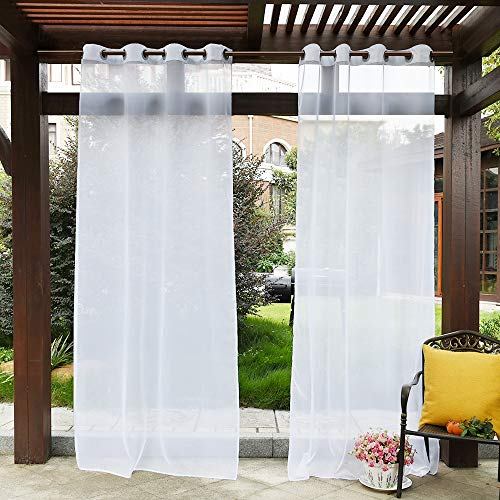 PONY DANCE Outdoor Sheer Curtains - Patio Voile Panel Indoor/Outdoor Water Resistant Grommet Top Waterproof Curtain with Ropes for Front Porch, 54' W x 84' L, White, 1 Panel