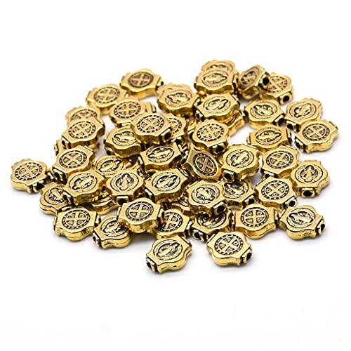 PHILSP 50 piezas de oro antiguo/plata antigua San Benito Medalla redonda cuentas sueltas joyería DIY religiosa joyería accesorios oro