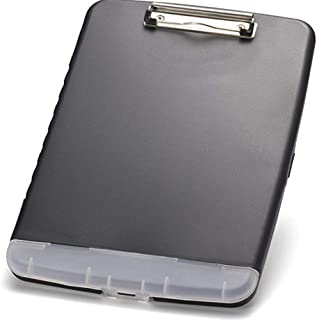 Mydio Slim Clipboard Storage Box,Letter Size Plastic Storage Clipboard with Built-in Pen Holder,Black