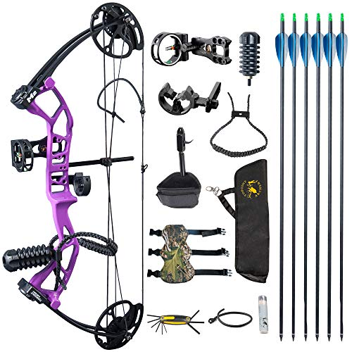 TOPOINT ARCHERY M2 Junior Compound Bow Set Beginners,Youth&Kids Bow Women Bow 17'-27' Draw Length,10-40Lbs Draw Weight,290fps IBO, Limbs Made in USA,Bow Only 2.54lbs,Lightweight Design (Purple)