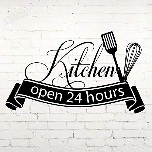 84x48cm (Personalizar Nombre y Color) Cocina Horas Abiertas Etiqueta de la Pared Cocina Art Deco Vinilo Etiqueta de la Pared Etiqueta del refrigerador Restaurante