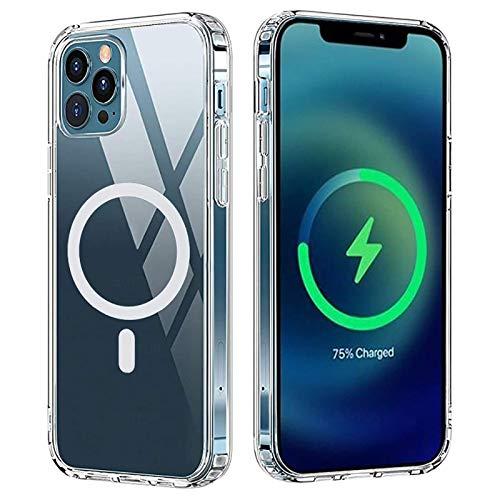OH Adecuado para Iphone 12 Pro Max Funda Protectora Magnética Iphone 12 Mini Pro Transparent Funda Protectora Transparente Tapa Protectora Transparente Admite Cargador Inalámbrico L