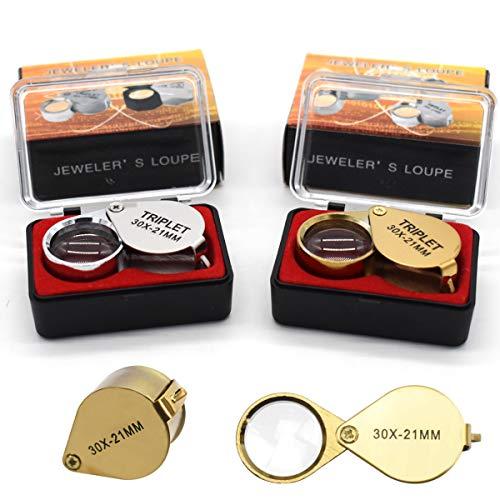 Einschlaglupe 30 Fach,Xiuyer 2 Stück Tragbare Vergrößerungsglas 21mm Glas Lupe Schutzbox für Lesen Inspektion Münzen Schmuck Briefmarken Handlupe Taschenlupe Silber Gold Metall
