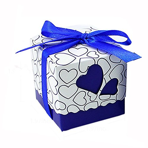 Leehome 100PCS Wedding Party Favors Candy Gift Boxes With Ribbons (Royal Blue)