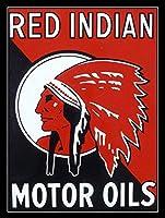 赤インドモーターオイルティンサイン壁鉄絵レトロプラークヴィンテージ金属シート装飾ポスター面白いポスターバーガレージカフェホーム用クラフト