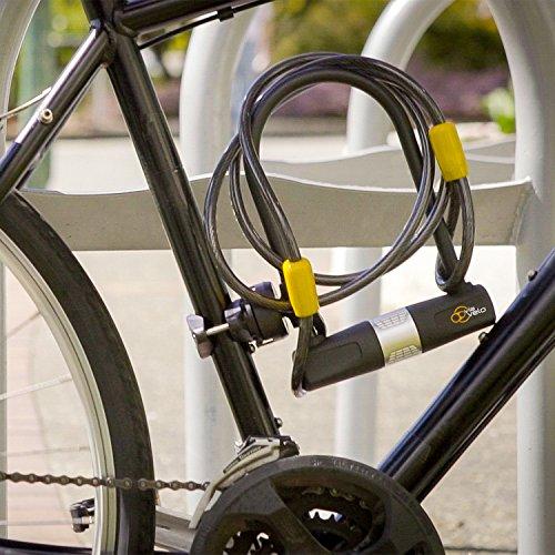 Via VeloBike U lock Heavy Duty Bicycle U-Lock,14mm Shackle and 10mm x1.8m Cable with Mounting Bracket For Road Bike Mountain Bike Electric Bike Folding Bike, Great Bike Safety Tool