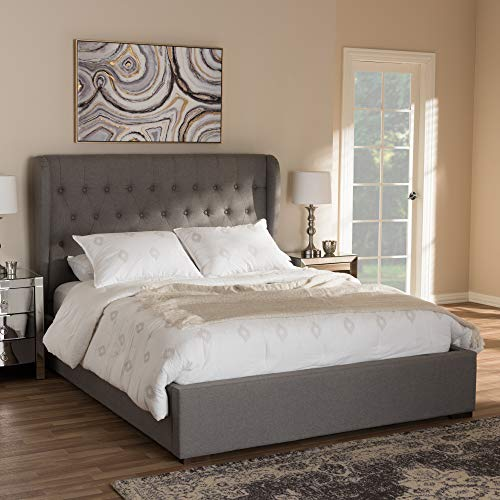 "Baxton Studio Penelope Modern and Contemporary Light Grey Fabric Queen Size Gas-Lift Platform Bed Contemporary/Light Grey/Fabric Polyester 100%""/Rubber Wood/MDF/Particle Board/Foam/"