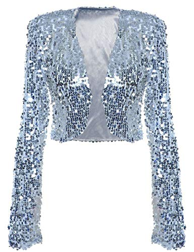 kayamiya Damen Pailletten-Jacke, langärmelig, glitzernd, Bolero Gr. 46/48 DE XXX-Large, silber