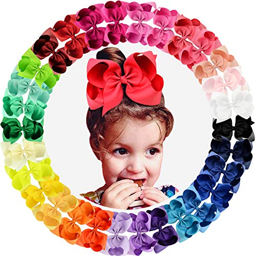 "30pcs Big 6"" Hair Bows Clips Solid Color Grosgrain Ribbon Larger Hair Bows Alligator Clips Hair Accessories for Baby Girls Infants Toddlers Kids Teens Little Girls"