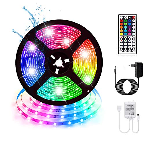 Multicolore Ruban LED Etanche 5M RGB 270LED Bande Flexible Lumineux pour Halloween, Noël, Décoration des fêtes Strip Light + Télécommande à infrarouge 48 touches+Alimentation 2A12V.