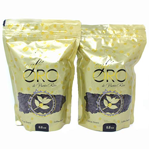 Cafe de Oro de Puerto Rico - Puerto Rican Roasted Coffee Beans by Cafe Oro Puerto Rico Inc - 8.8oz (2 packs)
